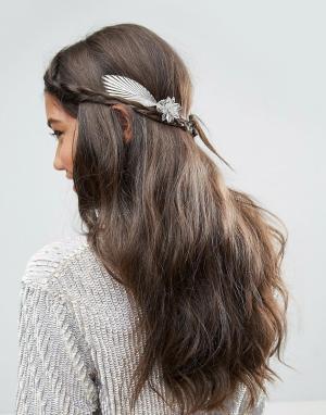 ASOS Украшение для волос с объемными цветами и листьями. Цвет: серебряный