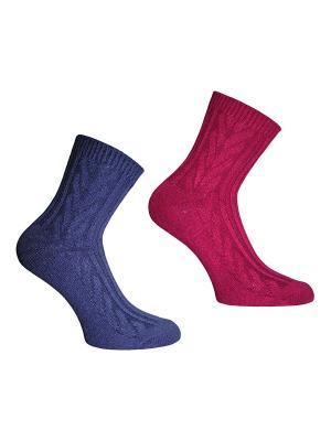 Носки 2 пары Master Socks. Цвет: фуксия, темно-синий