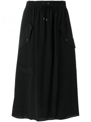 Юбка со шнурком на талии Kenzo. Цвет: чёрный