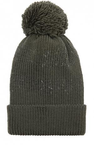 Шерстяная шапка с помпоном 7II. Цвет: хаки