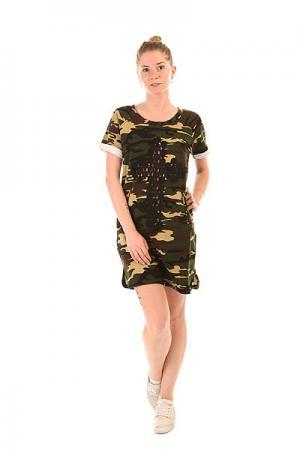 Платье женское  Dress Militery E25 Camo Emblem. Цвет: черный,коричневый,бежевый