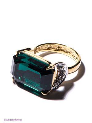 Кольцо Jenavi. Цвет: золотистый, зеленый
