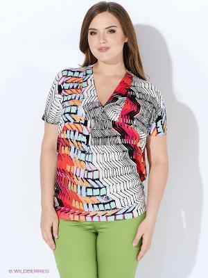 Блузка Yarmina. Цвет: белый, серый, красный, оранжевый