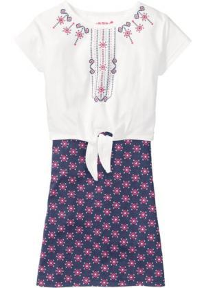 Платье и футболка (2 изд.) (индиго с рисунком) bonprix. Цвет: индиго с рисунком