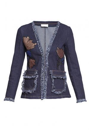 Джинсовая куртка с пайетками 186270 Cristina Effe. Цвет: синий