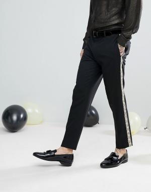 ASOS Черные брюки скинни с золотистыми полосками по бокам. Цвет: черный