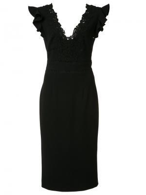 Платье с V-образным вырезом Rebecca Taylor. Цвет: чёрный