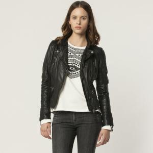 Блузон в рокерском стиле из телячьей кожи CAMERA OAKWOOD. Цвет: коньячный,телесный,черный