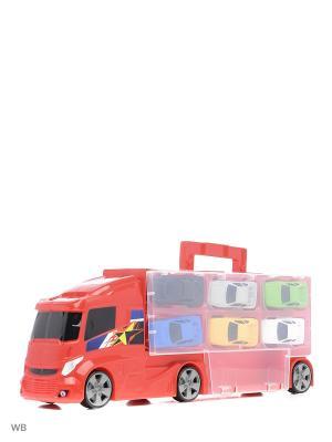 Автовоз - гараж с машинками Teamsterz HTI. Цвет: темно-синий, бирюзовый, желтый, зеленый, красный, кремовый, лазурный, малиновый, морская волна, светло-желтый, синий