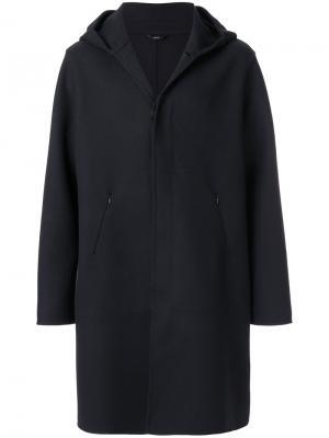 Классическое пальто с капюшоном Hevo. Цвет: синий