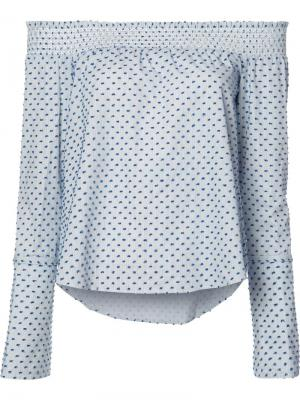 Блузка с открытыми плечами и узором из точек Derek Lam 10 Crosby. Цвет: синий