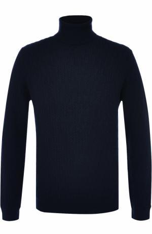 Шерстяная водолазка фактурной вязки Brioni. Цвет: темно-синий