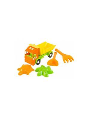 Mini truck грузовик с набором для песка  5 эл. ТИГРЕС. Цвет: желтый, зеленый, оранжевый
