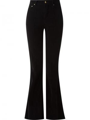 Бархатные брюки клеш Amapô. Цвет: чёрный