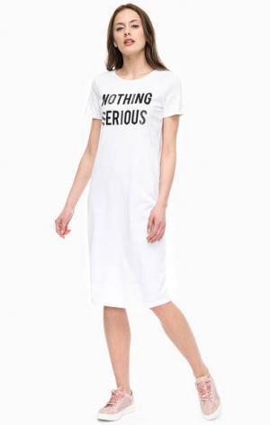 Трикотажное платье футболка с короткими рукавами Kocca. Цвет: белый