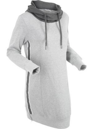 Трикотажное платье с длинным рукавом (светло-серый меланж) bonprix. Цвет: светло-серый меланж