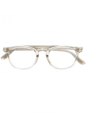 Оптические очки в круглой оправе Tom Ford Eyewear. Цвет: телесный