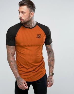 SikSilk Красно-бурая обтягивающая футболка с рукавами реглан. Цвет: оранжевый