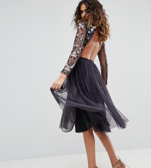Needle & Thread Платье миди из тюля. Цвет: темно-синий
