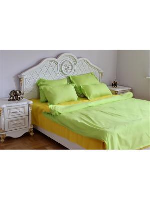 Постельное белье семейное SALHAM. Цвет: желтый, салатовый