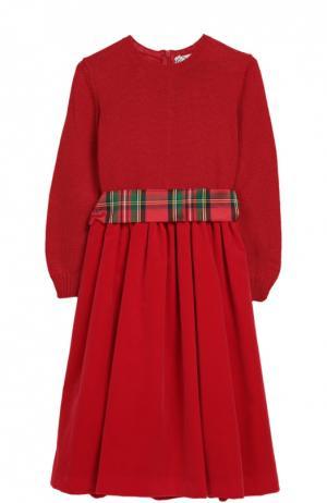 Платье джерси с поясом Caf. Цвет: красный