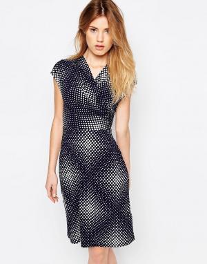 Uttam Boutique Трикотажное платье в горошек. Цвет: темно-синий