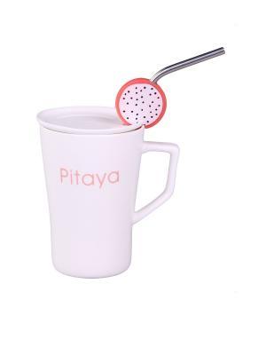 Кружка  с ложкой Питайя PATRICIA. Цвет: белый, розовый