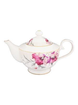 Чайник Серебристый мак Elan Gallery. Цвет: белый, лиловый, серебристый