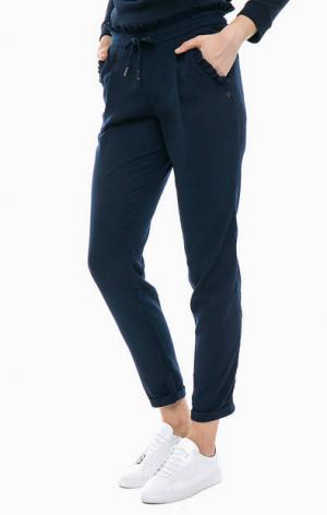 Укороченные брюки джоггеры TOM TAILOR Denim. Цвет: синий