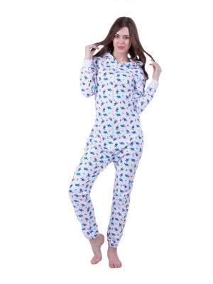 Хлопковая пижама Морская HandyWear. Цвет: белый, синий