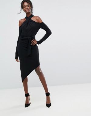 Bec & Bridge Платье миди с открытыми плечами. Цвет: черный