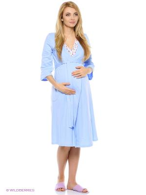 Домашний комплект для беременных и кормящих (халат+сорочка) Hunny Mammy. Цвет: голубой