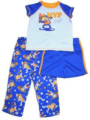 Комплект домашний для мальчика из 3-х предметов Спорт Little Me. Цвет: синий, голубой