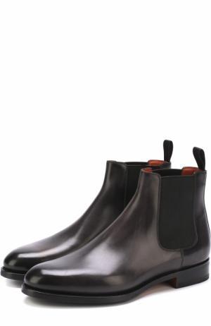 Кожаные челси на низком каблуке Santoni. Цвет: серый
