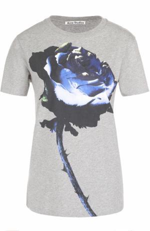 Хлопковая футболка прямого кроя с цветочным принтом Acne Studios. Цвет: светло-серый