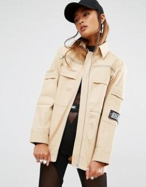SHADE London Oversize-куртка в стиле милитари. Цвет: кремовый