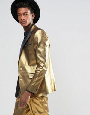ASOS Золотистый пиджак слим. Цвет: золотой