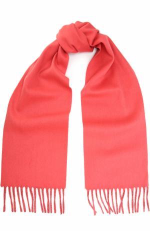 Кашемировый шарф с бахромой Colombo. Цвет: коралловый