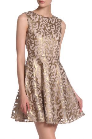 Платье приталенное гипюрное IQDRESS. Цвет: золотой