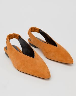 Gestuz Светло-коричневые туфли с ремешком через пятку. Цвет: оранжевый