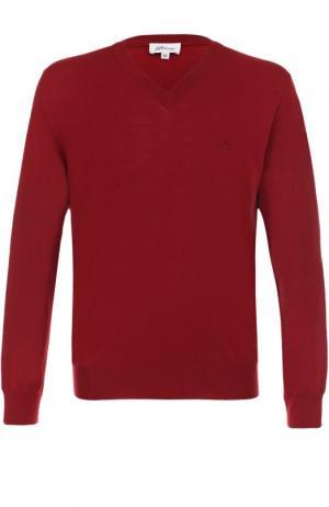 Пуловер из шерсти тонкой вязки Brioni. Цвет: бордовый