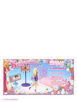 Набор мебели для кукол Гламур - спальня Красотка 1Toy. Цвет: розовый, синий