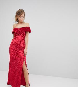 True Violet Бархатное платье макси с разрезом. Цвет: красный