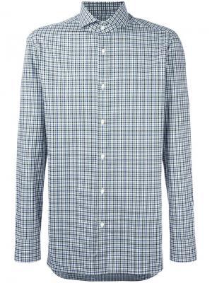 Рубашка в клетку со стоячим воротником Borrelli. Цвет: зелёный