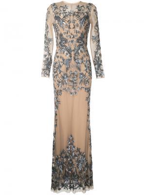 Телесное вечернее платье с блестящей отделкой Zuhair Murad. Цвет: none