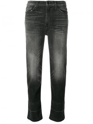 Укороченные джинсы с потертой отделкой Hudson. Цвет: чёрный