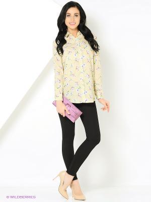 Блузка с цветочным принтом бежевая MONOROOM. Цвет: бежевый