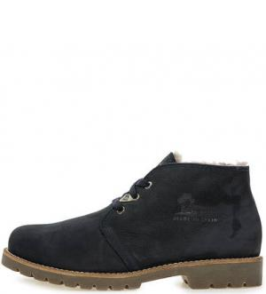 Синие утепленные ботинки из нубука Panama Jack. Цвет: синий