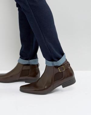 ASOS Коричневые ботинки челси из искусственной кожи. Цвет: коричневый