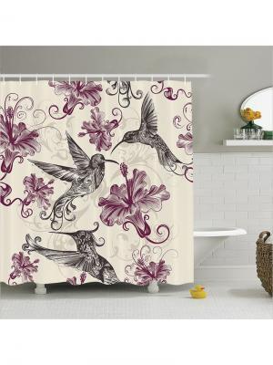 Фотоштора  для ванной, 180x200 см Magic Lady. Цвет: серый, светло-оранжевый